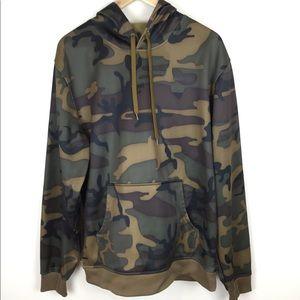 Burton Camo Hooded Sweatshirt Fleece Line L